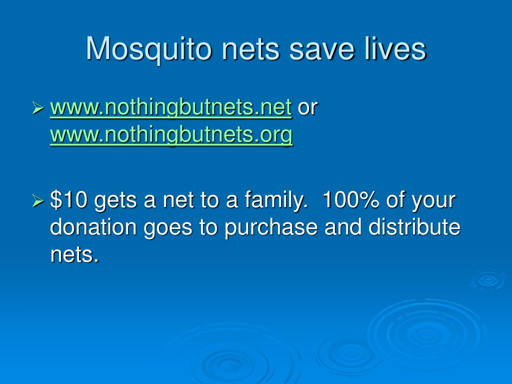 Mosquito nets save lives