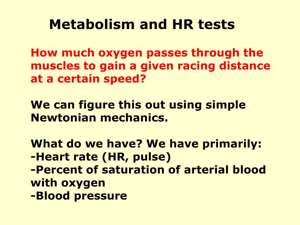 Metabolism and HR tests