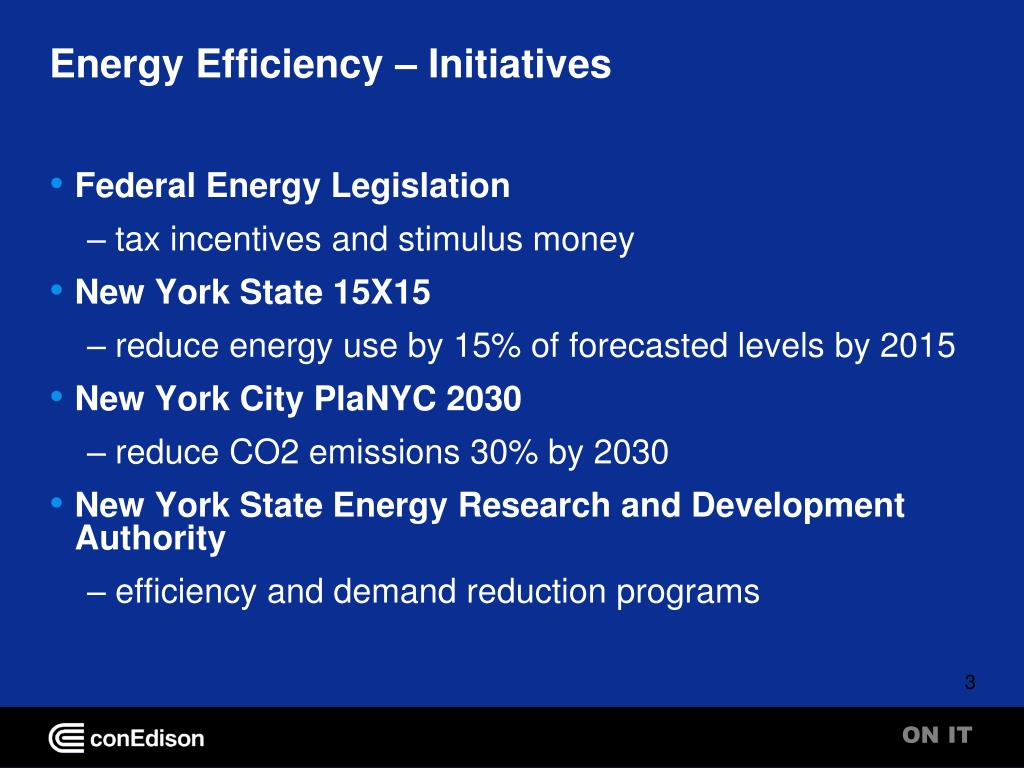Energy Efficiency – Initiatives