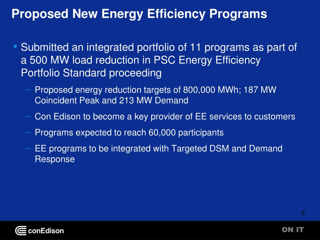 Proposed New Energy Efficiency Programs