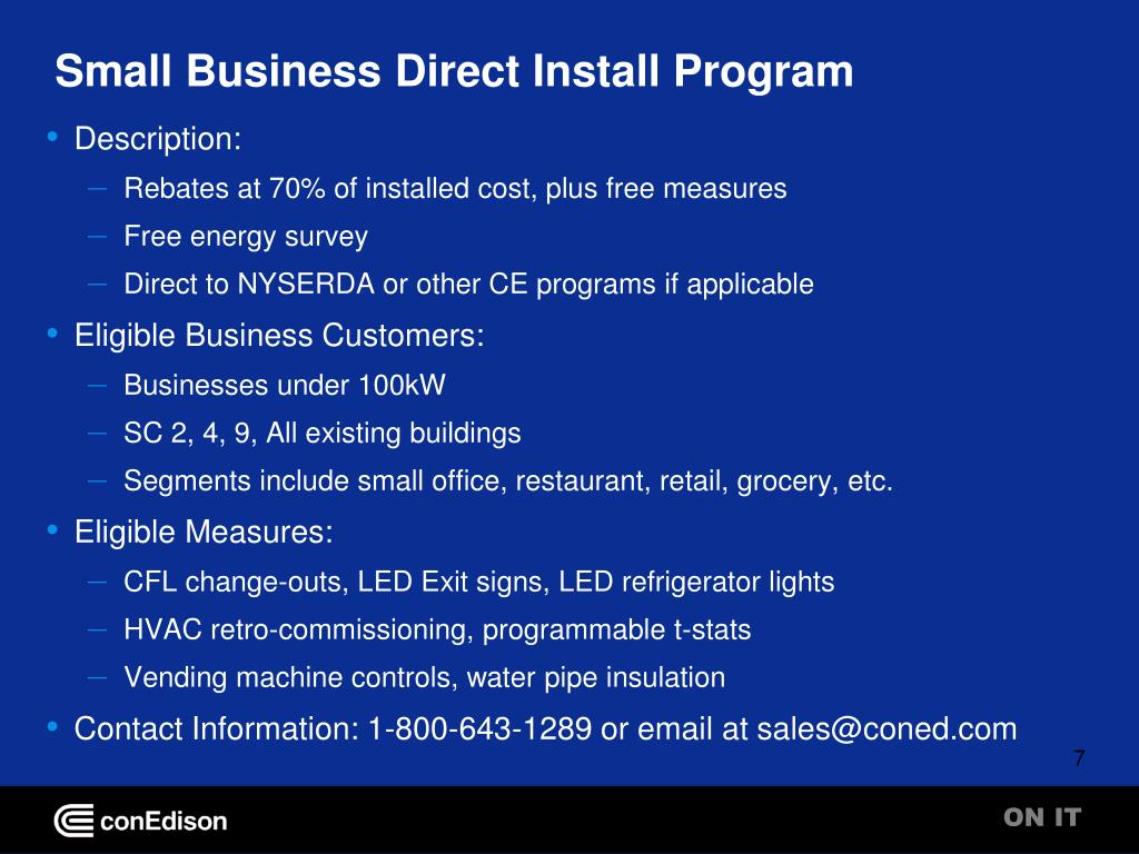 Small Business Direct Install Program