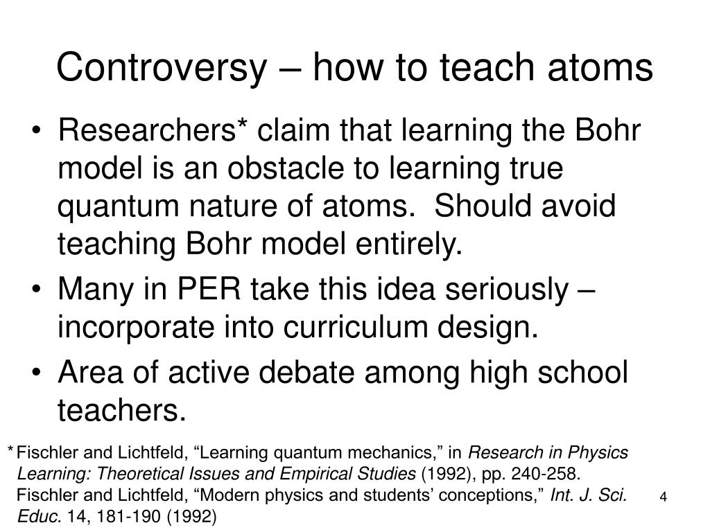 Controversy – how to teach atoms