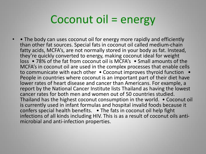 Coconut oil = energy