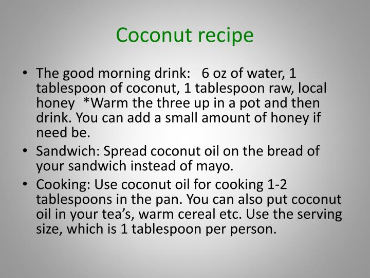 Coconut recipe