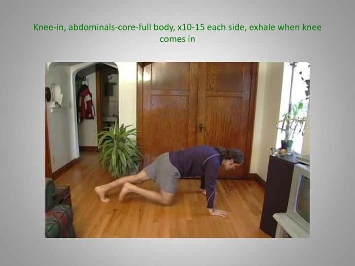 Knee-in, abdominals-core-full body, x10-15 each side, exhale when knee comes in