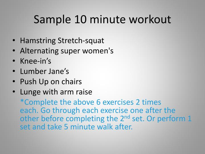 Sample 10 minute workout