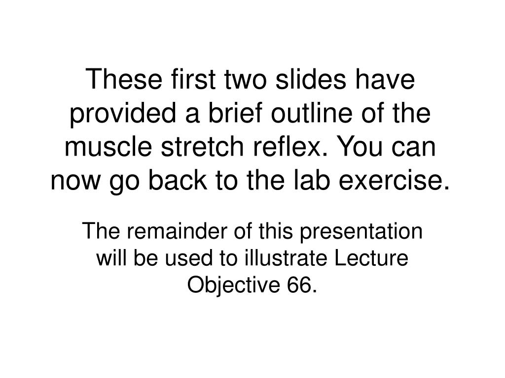 These first two slides have provided a brief outline of the muscle stretch reflex. You can now go back to the lab exercise.