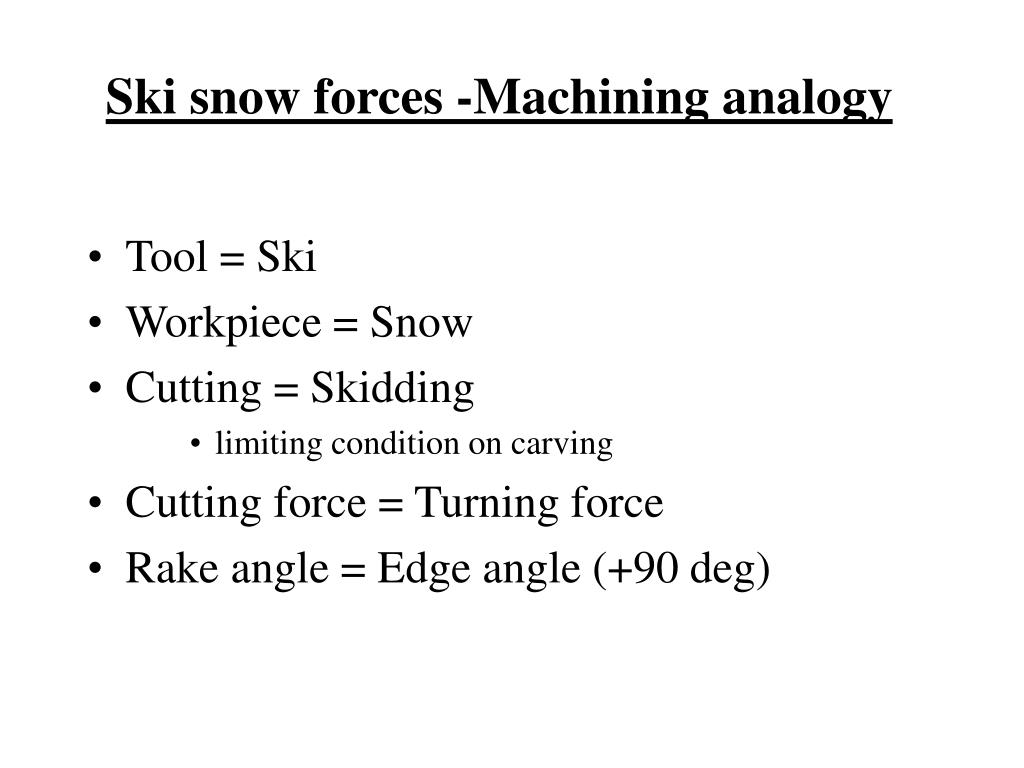 Ski snow forces -Machining analogy