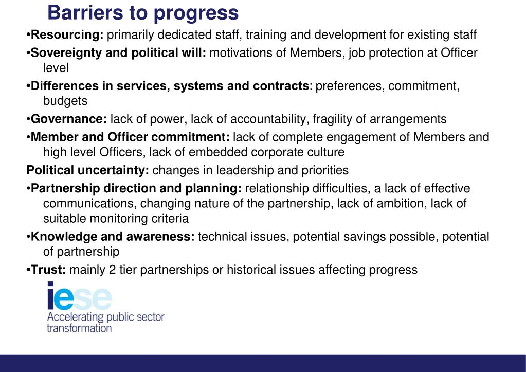 Barriers to progress