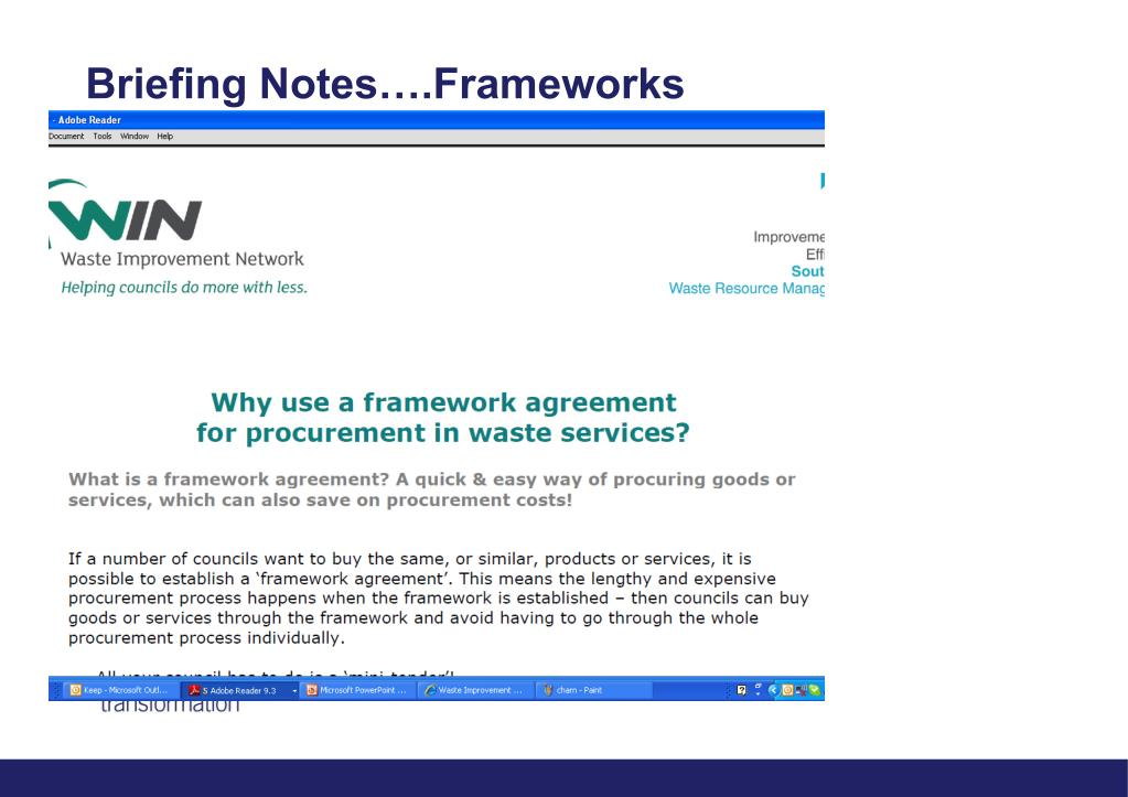 Briefing Notes….Frameworks