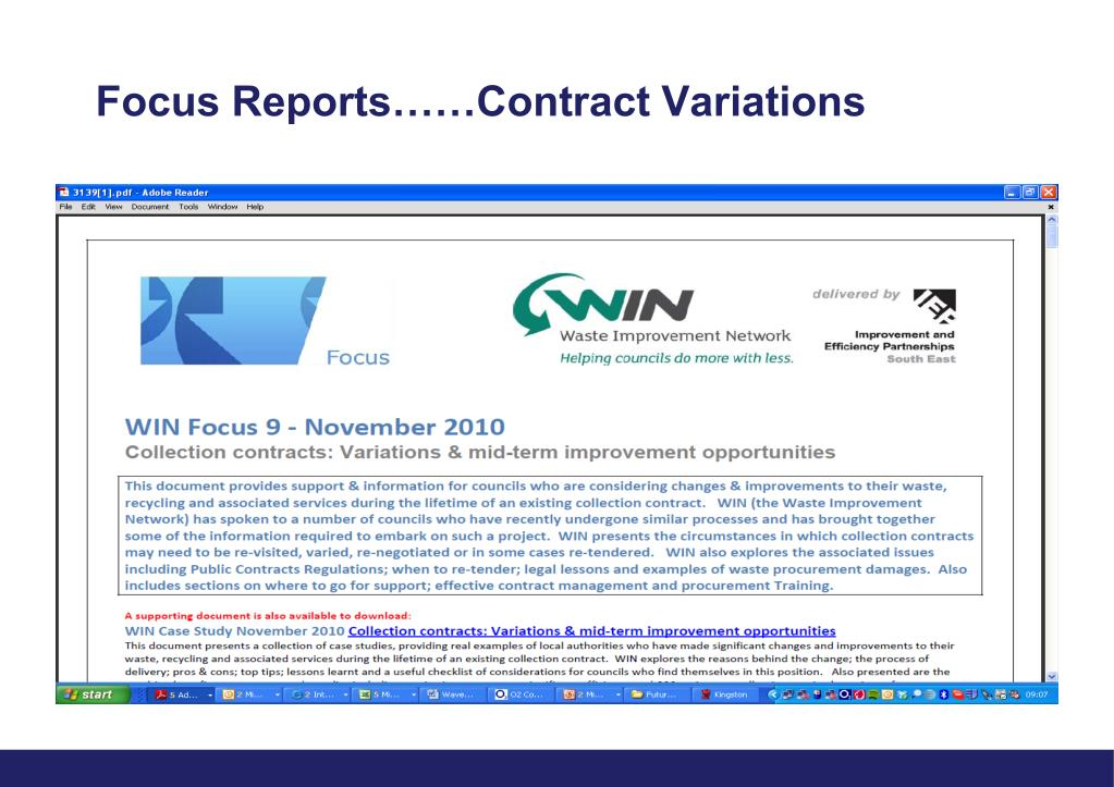 Focus Reports……Contract Variations
