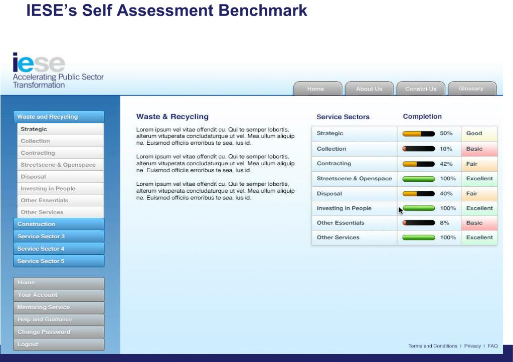 IESE's Self Assessment Benchmark