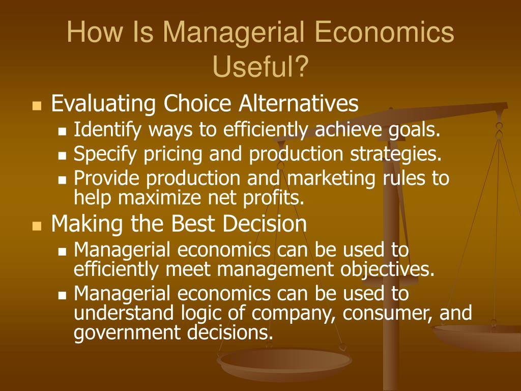 managerial economic answer So he has to use a mix of management skills and economics managerial economics is 2015 author has 77k answers and in simple words managerial economic.