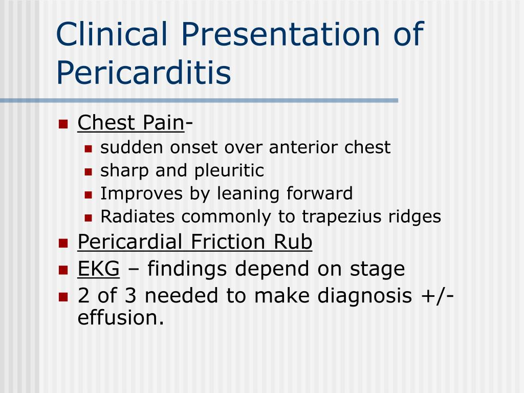 Clinical Presentation of Pericarditis