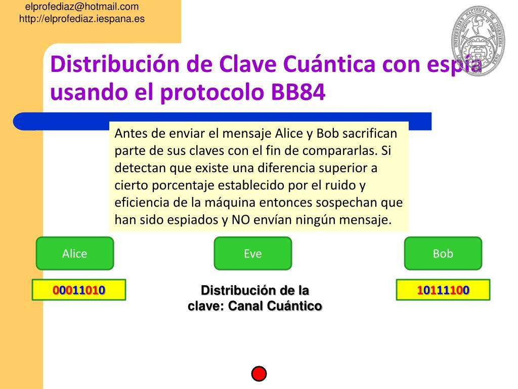 Distribución de Clave Cuántica con espía usando el protocolo BB84