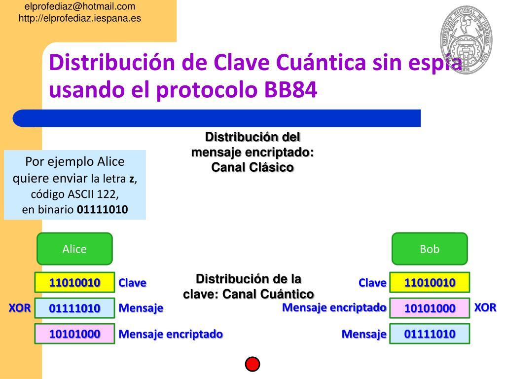 Distribución de Clave Cuántica sin espía usando el protocolo BB84