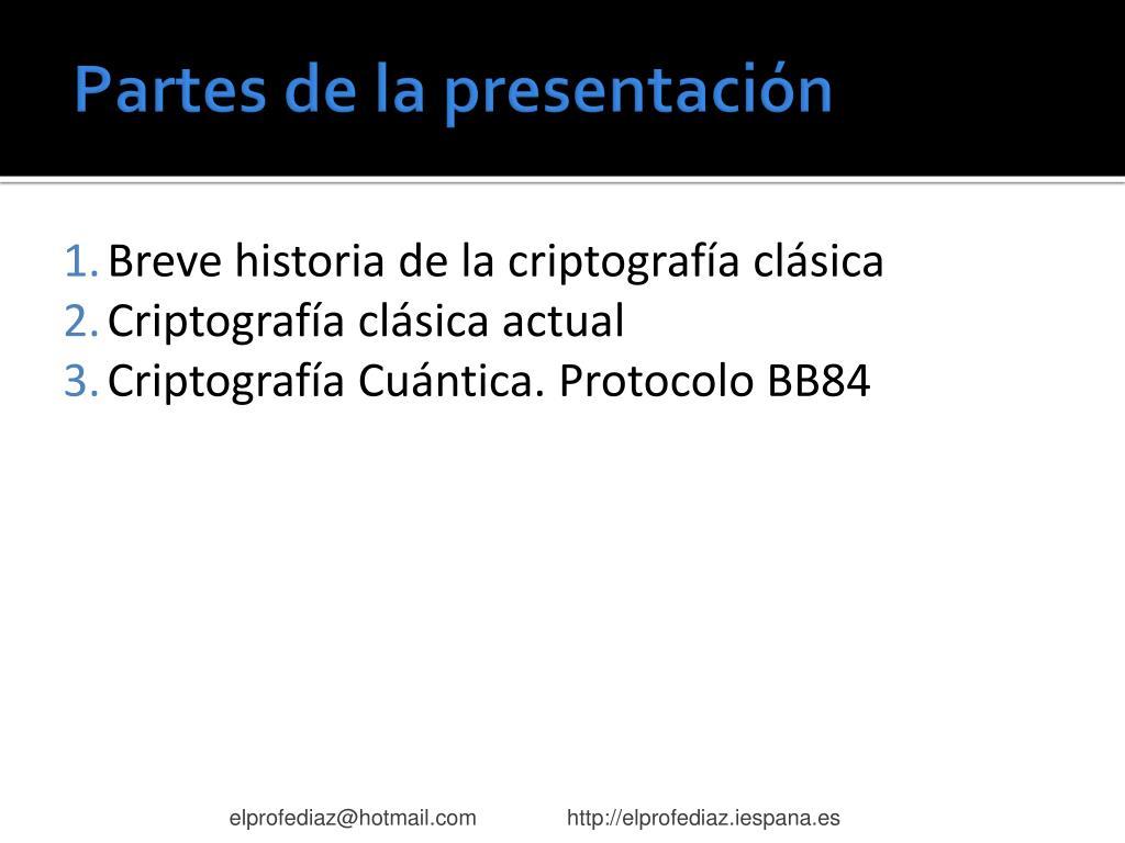 Partes de la presentación
