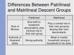 differences between patrilineal and matrilineal descent groups