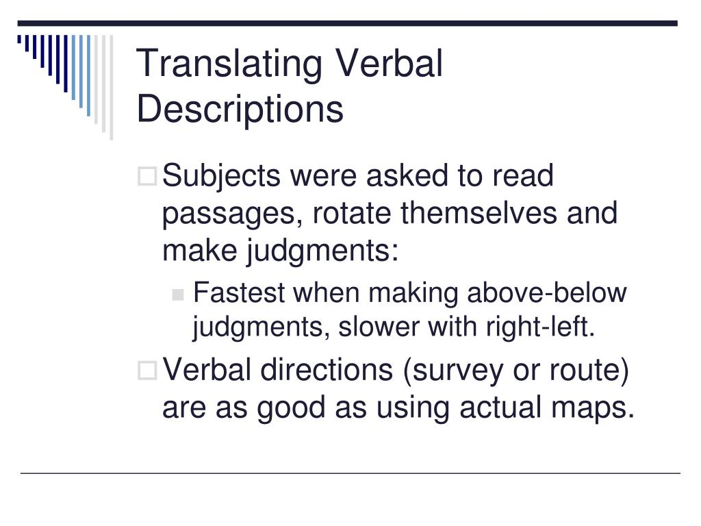 Translating Verbal Descriptions