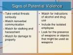 signs of potential violence