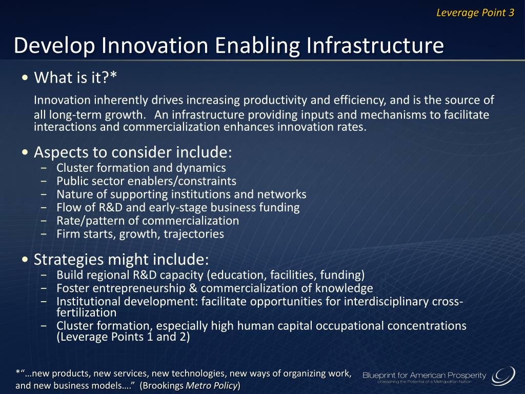 Develop Innovation Enabling Infrastructure