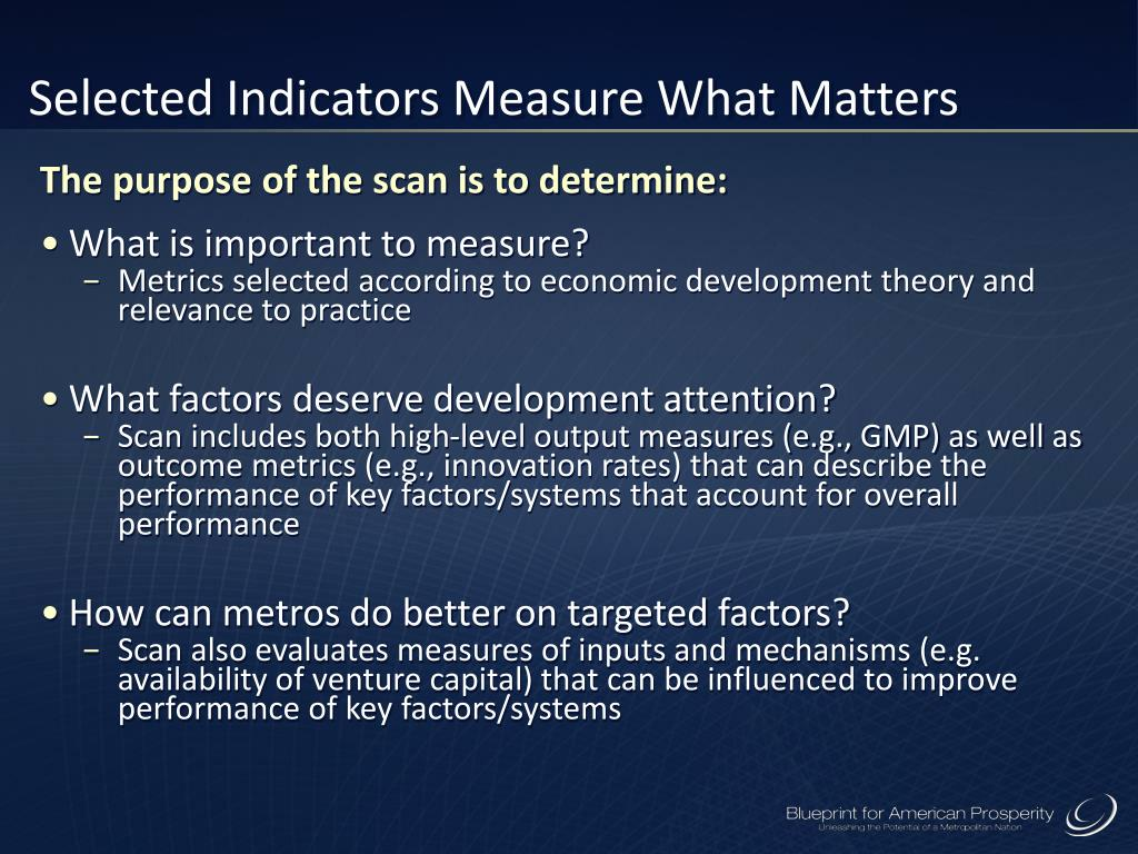Selected Indicators Measure What Matters