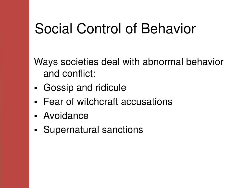 Social Control of Behavior