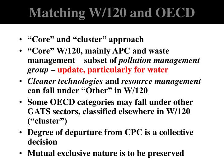 Matching W/120 and OECD