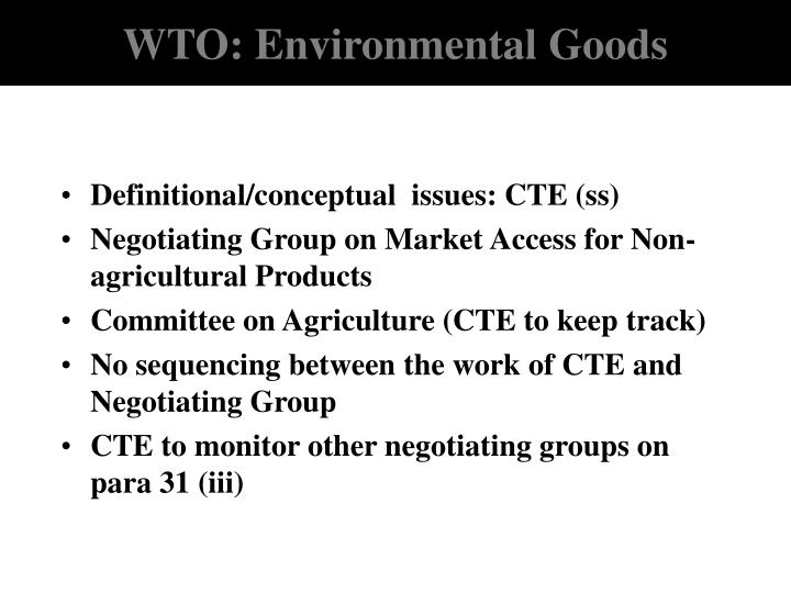 WTO: Environmental Goods