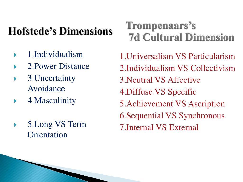 trompenaar dimensions of germany Section 1 is a chart comparing tromprenaar's 7 dimensions between germany dimensions of management / culture comparison chart trompenaar's dimensions of.