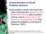 characteristics of good problem solvers
