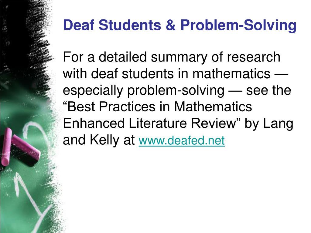 Deaf Students & Problem-Solving
