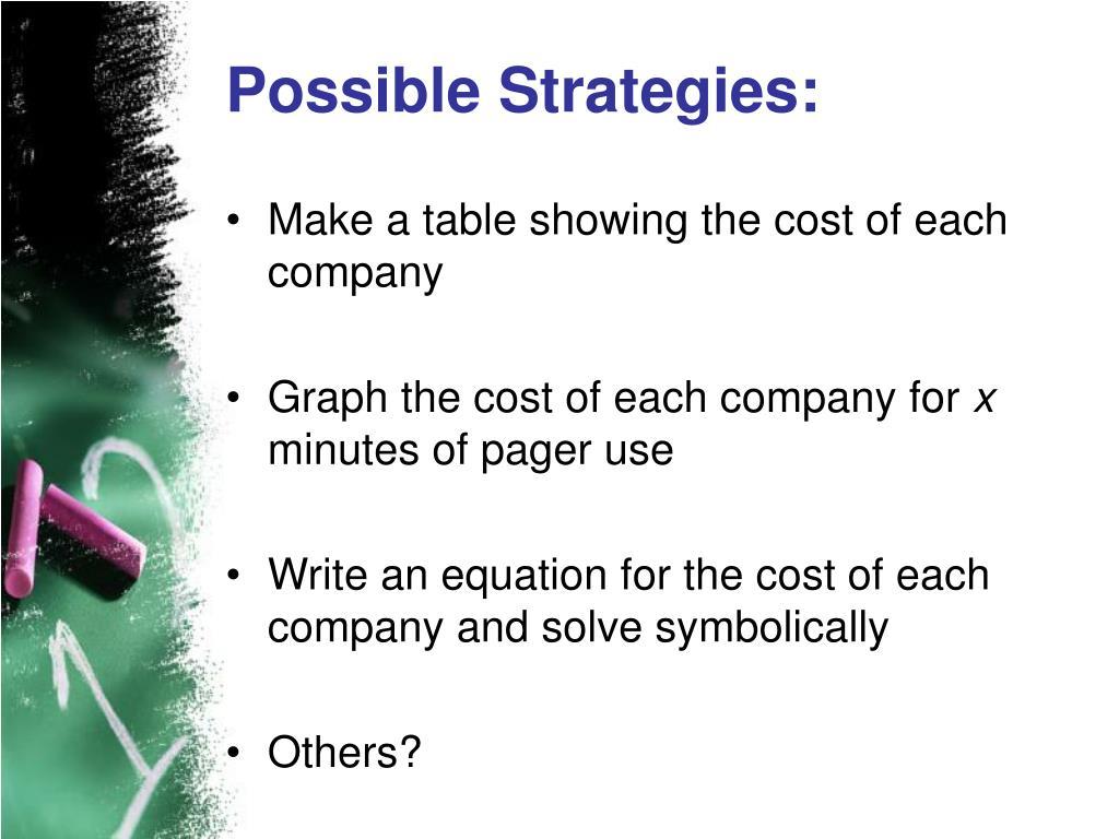 Possible Strategies: