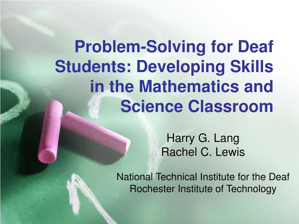 problem solving for deaf students developing skills in the mathematics and science classroom