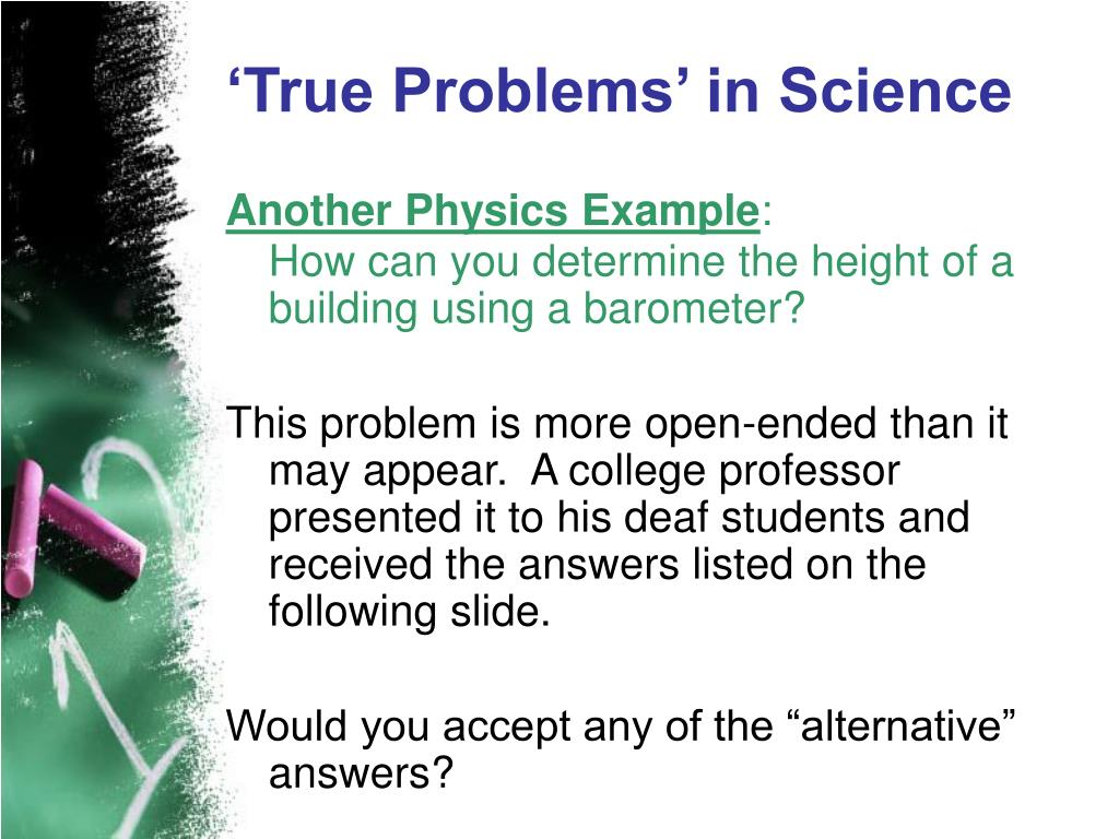 'True Problems' in Science