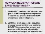 how can ngos participate effectively in eia