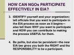how can ngos participate effectively in eia21