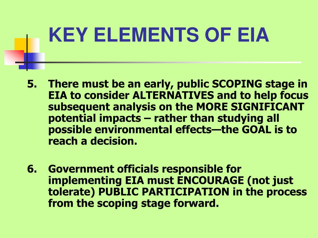 KEY ELEMENTS OF EIA