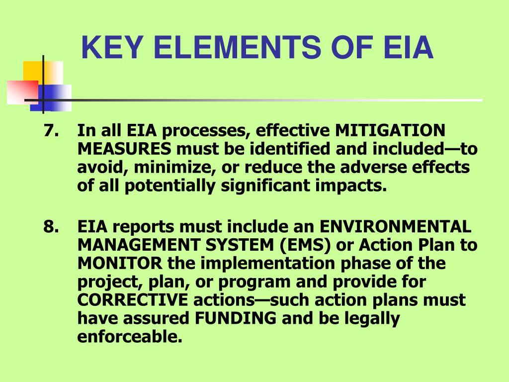 KEY ELEMENTS OF EIA