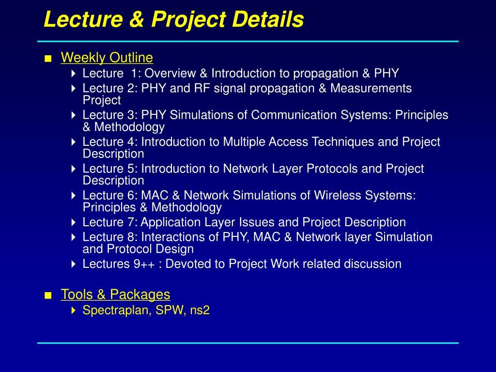 Lecture & Project Details
