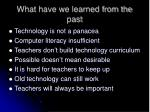 what have we learned from the past