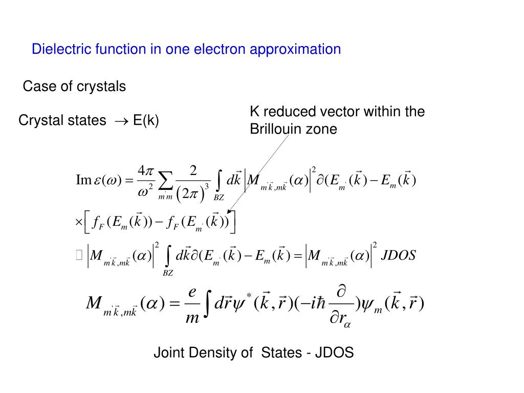 Dielectric function in one electron approximation