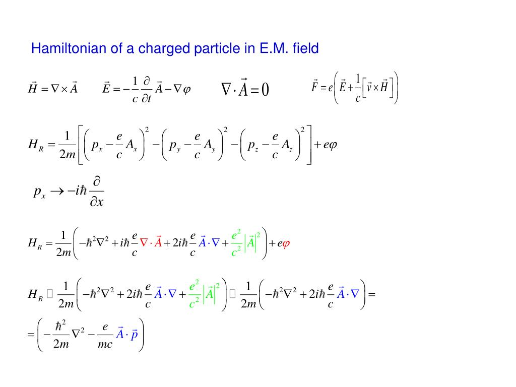 Hamiltonian of a charged particle in E.M. field