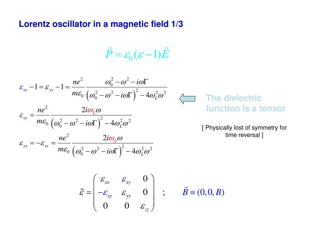 Lorentz oscillator in a magnetic field 1/3