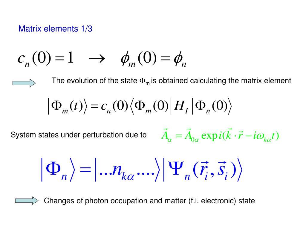 Matrix elements 1/3