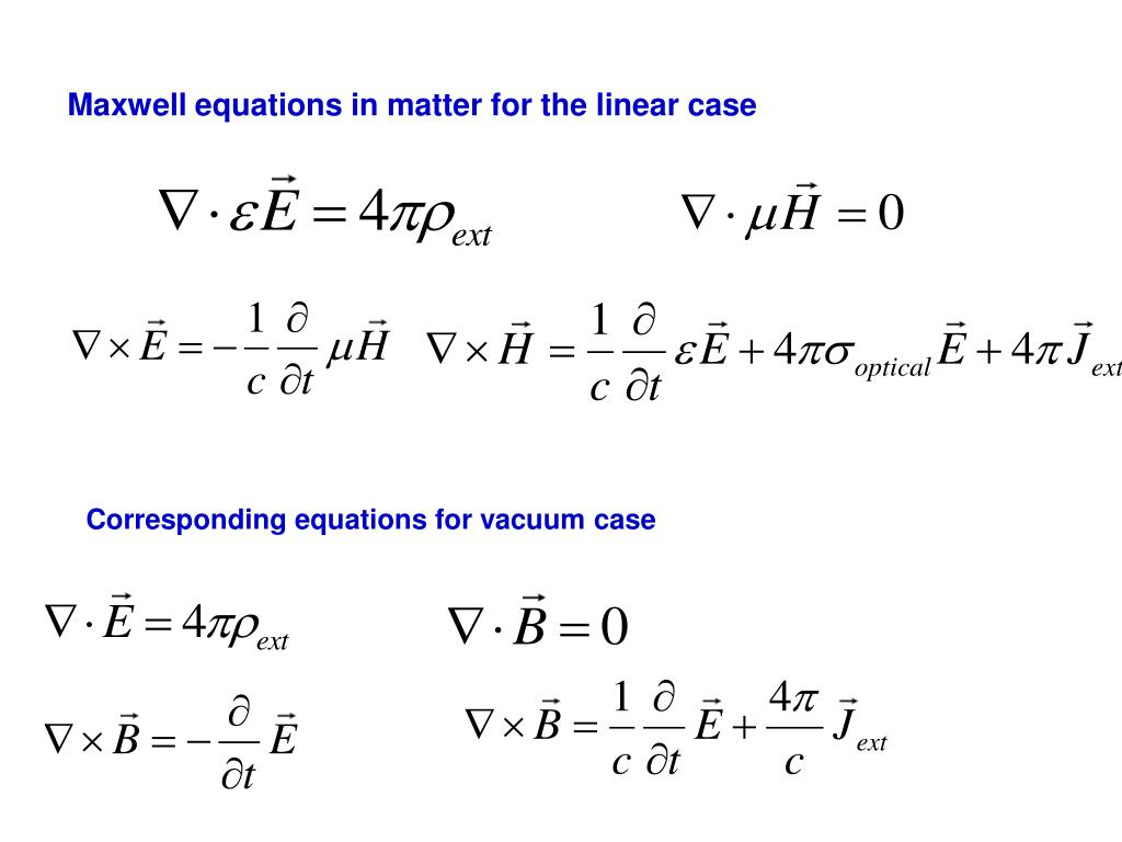 Maxwell equations in matter for the linear case