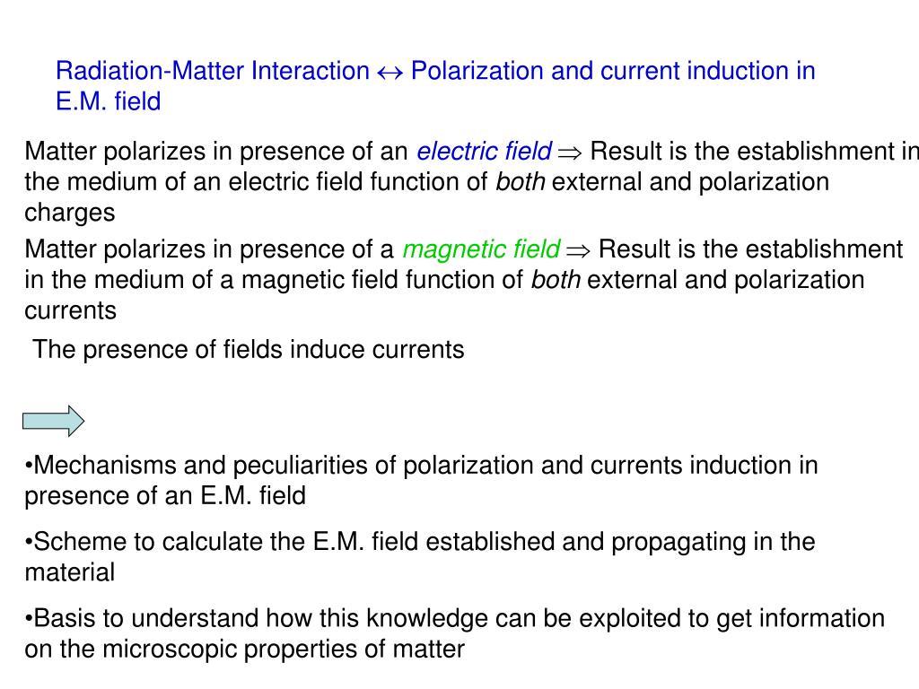 Radiation-Matter Interaction