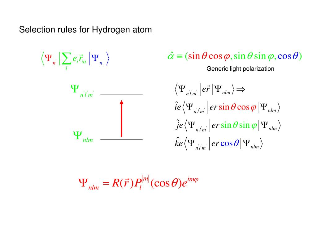 Selection rules for Hydrogen atom