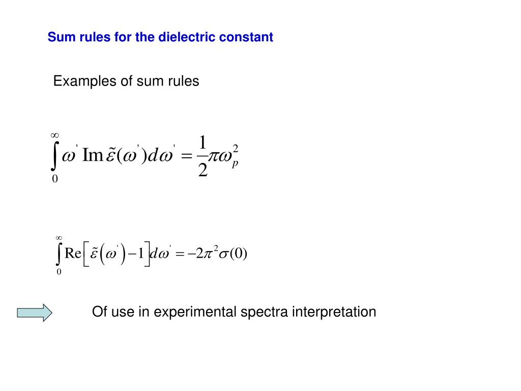 Sum rules for the dielectric constant