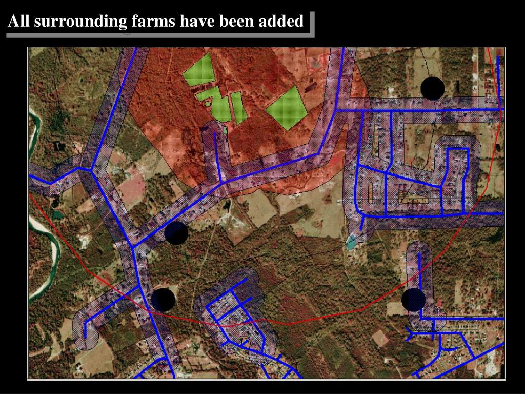 All surrounding farms have been added
